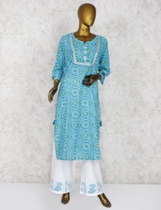 Aqua color bandhni printed cotton palazzo suit