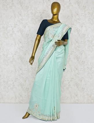 Aqua color semi silk saree