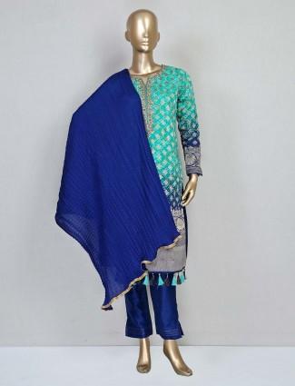 Aqua colour cotton silk pant suit