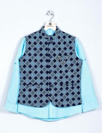 Aqua cotton boys waistcoat shirt for parties