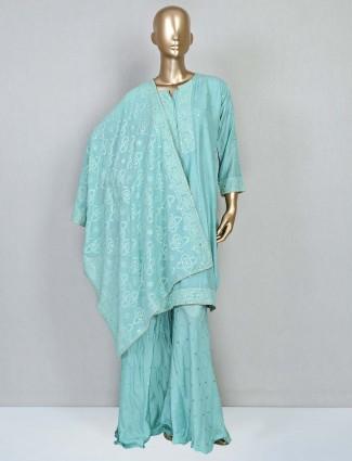 Aqua cotton palazzo suit for festive