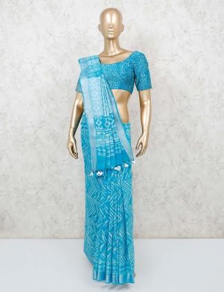 Aqua cotton saree with resham tassels