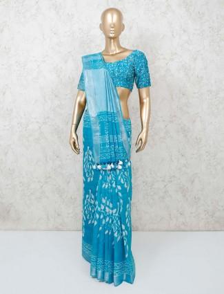 Aqua cotton saree with tassels trimmed pallu