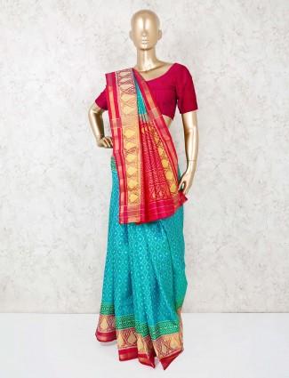 Aqua cotton silk festive saree