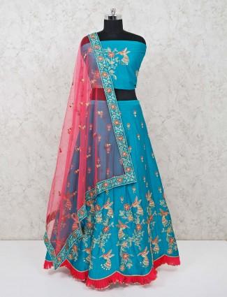 Aqua cotton silk festive semi stitched lehenga choli