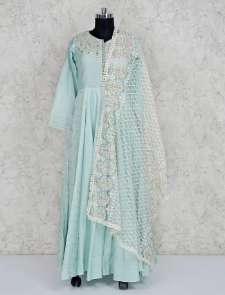 Aqua cotton silk floor length anarkali salwar suit