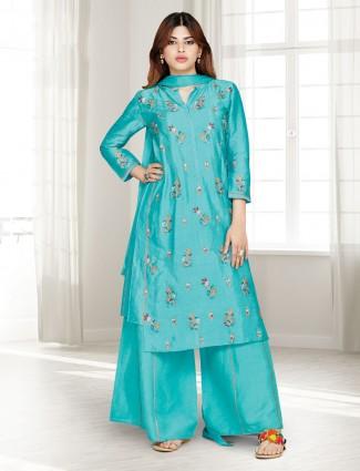 Aqua cotton silk punjabi palazzo suit