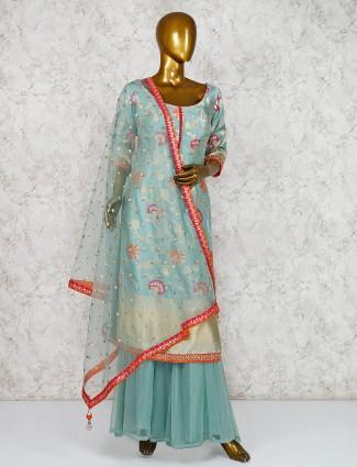 Aqua cotton silk round neck punjabi palazzo suit