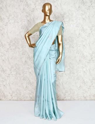 Aqua cotton silk saree for festive