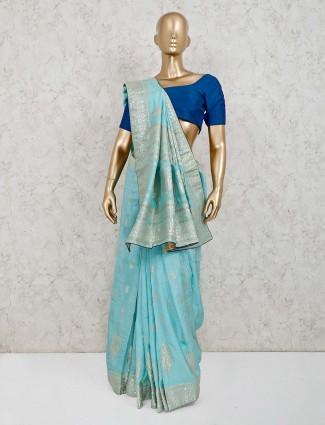 Aqua dola silk wedding saree