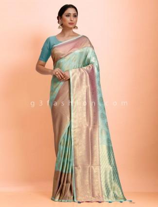 Aqua green art kanjivaram silk wedding wear exclusive saree