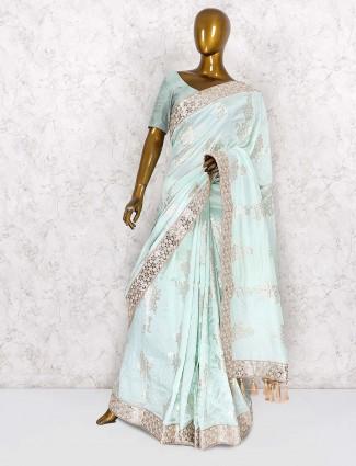 Aqua green beautiful saree in silk fabric