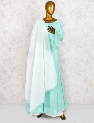 Aqua green cotton fabric festive punjabi palazzo suit