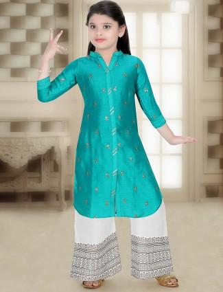 Aqua green cotton punjabi palazzo suit