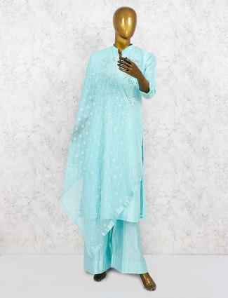 Aqua green cotton silk festive punjabi palazzo suit