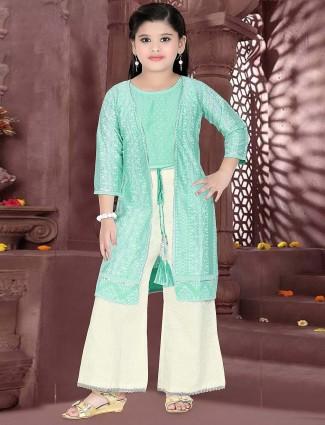 Aqua green cotton silk jacket style punjabi palazzo suit