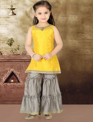 Yellow festive punjabi sharara suit