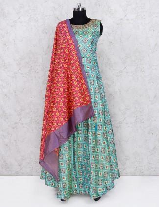 Aqua green festive wear printed floor length anarkali salwar suit