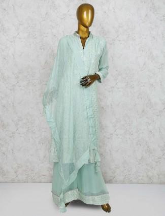 Aqua green georgette punjabi palazzo suit