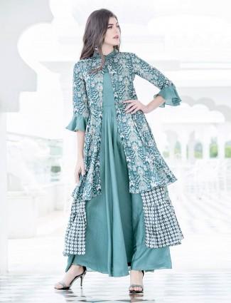 Aqua green jacket style casual cotton silk kurti