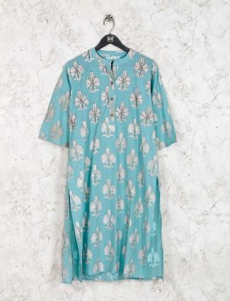 Aqua green kurti set in cotton fabric