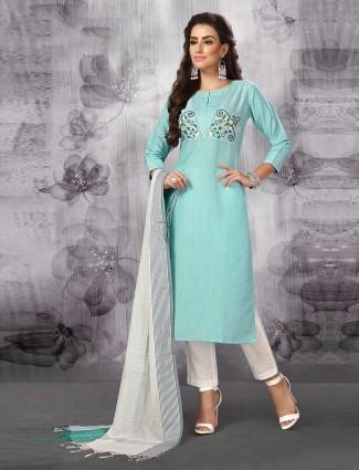 Aqua green pretty punjabi salwar suit in cotton silk fabric