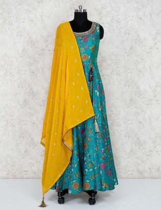 Aqua green printed cotton silk anarkali salwar suit