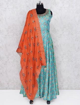 Aqua green printed cotton silk floor length anarkali salwar suit