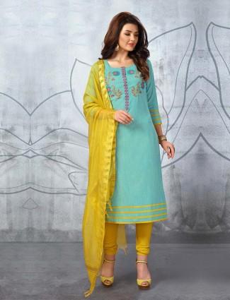 Aqua green punjabi churidar suit in cotton