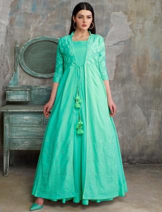 Aqua hue pakistani anarkali salwar suit in cotton silk