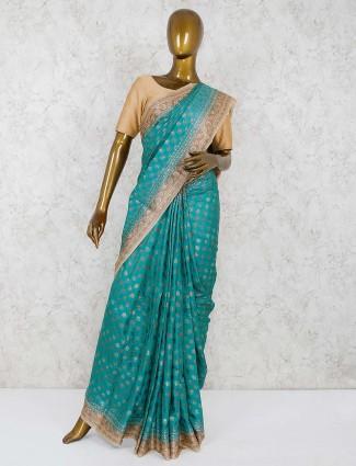 Aqua hue banarasi semi silk lovely saree