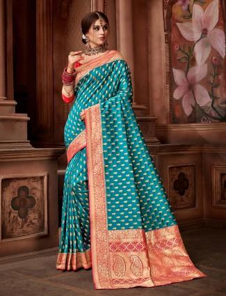 Aqua hue beautiful saree in silk