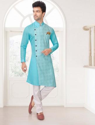 Aqua hue cotton designer kurta suit