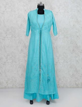 Aqua hue cotton silk jacket style floor length anarkali salwar suit
