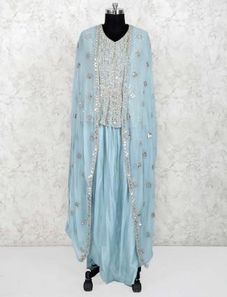Aqua hue cotton silk peplum style indo western salwar suit