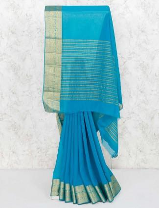 Aqua hue designer festive wear saree