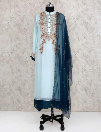 Aqua hue georgette fabric double layer salwar suit