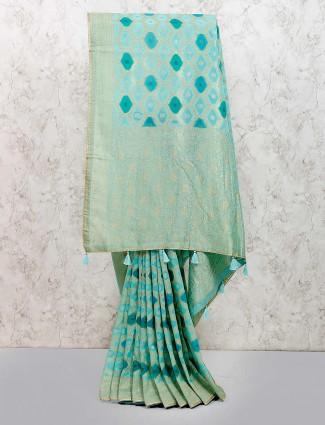 Aqua hue lovely muga silk fabric saree