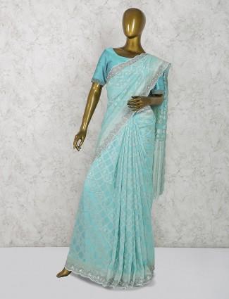Aqua hue pure silk pretty saree