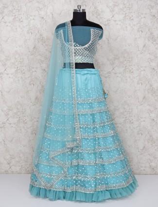 Aqua hue semi stitched lehenga choli in net