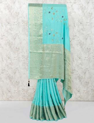 Aqua hue wedding wear cotton saree