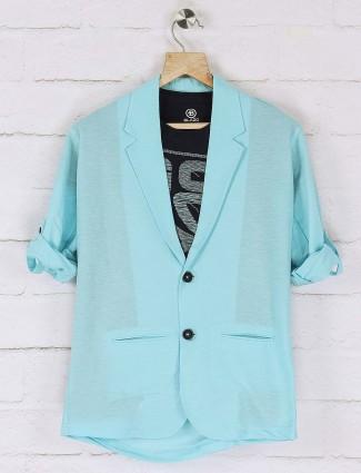 Aqua hued solid cotton blazer