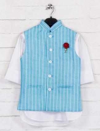 Aqua jute waistcoat with churidar