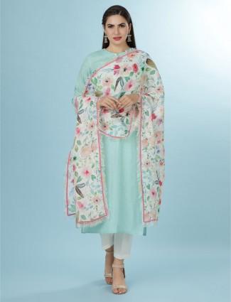 Aqua linen tunic in casual wear
