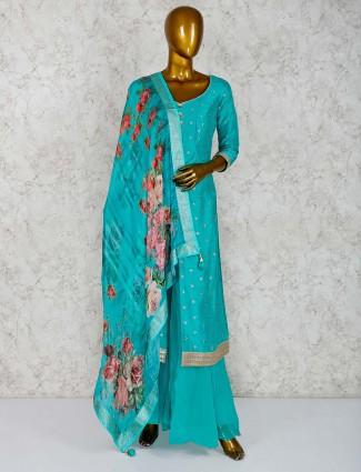 Aqua palazzo suit in raw silk
