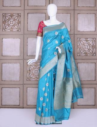Aqua pure banarasi silk fabric saree