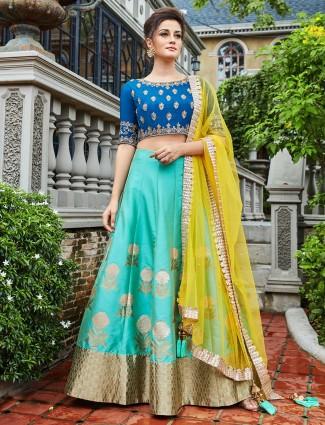 Aqua raw silk fabric festive lehenga choli