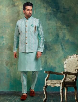 Aqua raw silk mens waistcoat set for parties