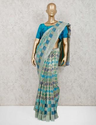 Aqua saree in handloom cotton silk with thread weaving