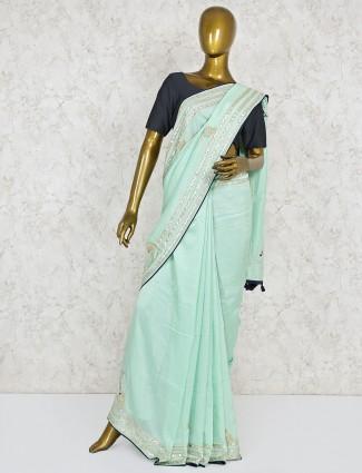 Aqua semi silk lovely saree